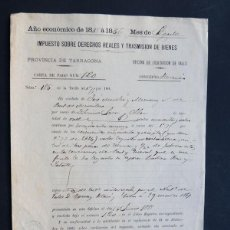 Manuscritos antiguos: VALLS 1881 / CARTA IMPUESTO SOBRE HERENCIA / TARRAGONA. Lote 52526479