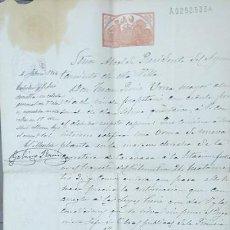 Manuscritos antiguos: CALASPARRA PERMISO ALCALDE PARA CONSTRUIR UNA URNA JUNTO A LA ESTACION DE FERROCARRIL1904 MURCIA. Lote 52617131
