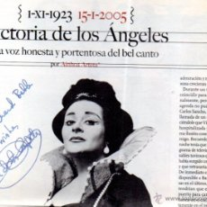 Manuscritos antiguos: SIGNED,AUTOGRAPH,FIRMA,VICTORIA DE LOS ANGELES ,CANTANTE SOPRANO ESPAÑOLA.VER GOOGLE.. Lote 52627517