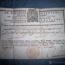 Manuscritos antiguos: ANTIGUO DOCUMENTO PONTIFICIO - AÑO 1797 - RELIQUIAS SAN BRUNO·SELLO LACRADO.. Lote 52634701