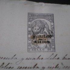 Manuscritos antiguos: ESCRITURA, DOCUMENTO NOTARIAL, LLEVA SELLO TIMBRE O FISCAL, UTIEL, VALENCIA 1868. Lote 52716477