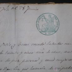 Manuscritos antiguos: ESCRITURA O DOCUMENTO NOTARIAL, LLEVA SELLO EN COLOR VERDE, TIMBRE O FISCAL, SOLLANA VALENCIA, 1864. Lote 52721579