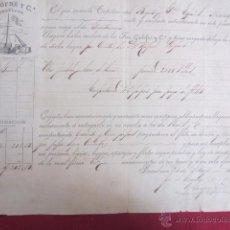Manuscritos antiguos: DOCUMENTO - DE CARGA QUE SUSCRIBE UN CAPITÁN QUE TIENE DEPOSITADO EN SU BERGANTIN..- GALOFRE- 1882. Lote 52833137