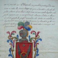 Manuscritos antiguos: MANUSCRITO. CERTIFICADO DE PRIVILEGIO DE NOBLEZA DE D. JOSE DE ALOY. FIGUERAS. 1833. . Lote 52861827