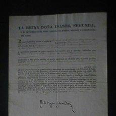 Manuscritos antiguos: FIRMA REAL DEL ISABEL II Y EN SU NOMBRE DOÑA MARIA CRISTINA DE BORBON REINA GOBERNADORA AÑO 1838. Lote 52936627