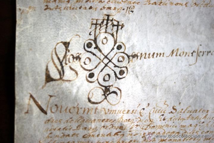ENORME MANUSCRITO EN PERGAMINO - INUSUAL POR TAMAÑO - AÑO 1650 - S. XVII - RARO (Coleccionismo - Documentos - Manuscritos)