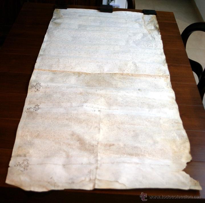 Manuscritos antiguos: ENORME MANUSCRITO EN PERGAMINO - INUSUAL POR TAMAÑO - AÑO 1650 - S. XVII - RARO - Foto 2 - 53016993