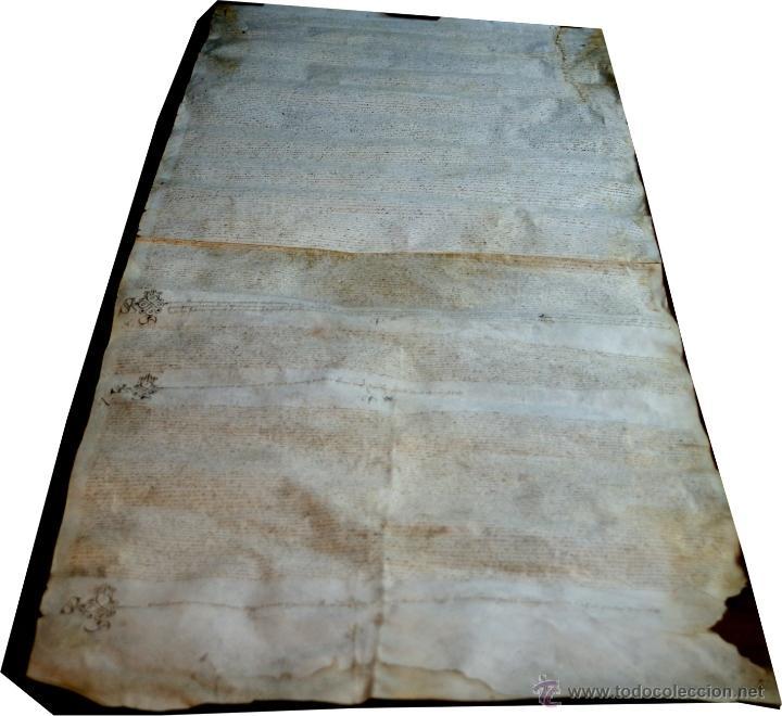 Manuscritos antiguos: ENORME MANUSCRITO EN PERGAMINO - INUSUAL POR TAMAÑO - AÑO 1650 - S. XVII - RARO - Foto 3 - 53016993