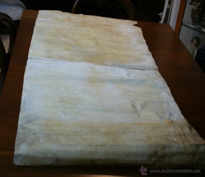 Manuscritos antiguos: ENORME MANUSCRITO EN PERGAMINO - INUSUAL POR TAMAÑO - AÑO 1650 - S. XVII - RARO - Foto 4 - 53016993