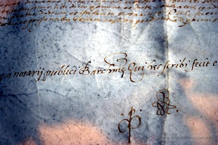 Manuscritos antiguos: ENORME MANUSCRITO EN PERGAMINO - INUSUAL POR TAMAÑO - AÑO 1650 - S. XVII - RARO - Foto 6 - 53016993