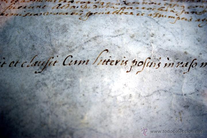 Manuscritos antiguos: ENORME MANUSCRITO EN PERGAMINO - INUSUAL POR TAMAÑO - AÑO 1650 - S. XVII - RARO - Foto 7 - 53016993