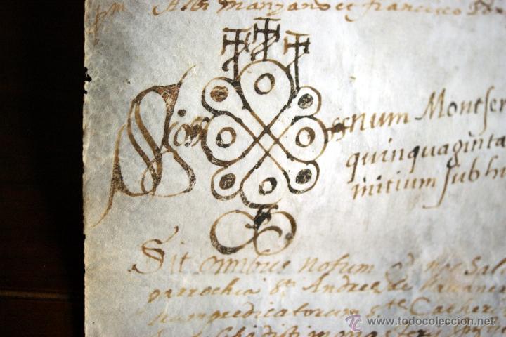 Manuscritos antiguos: ENORME MANUSCRITO EN PERGAMINO - INUSUAL POR TAMAÑO - AÑO 1650 - S. XVII - RARO - Foto 11 - 53016993