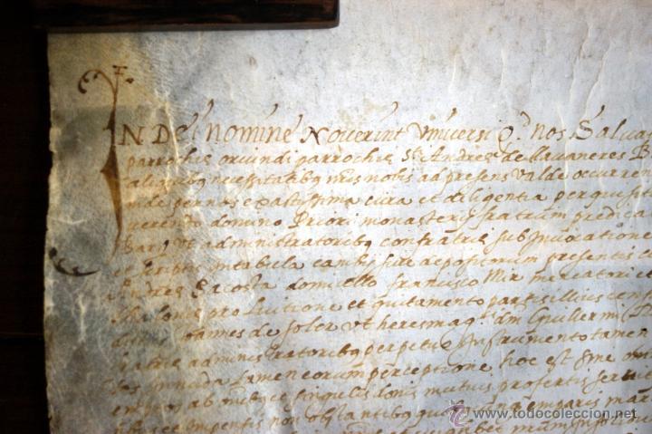 Manuscritos antiguos: ENORME MANUSCRITO EN PERGAMINO - INUSUAL POR TAMAÑO - AÑO 1650 - S. XVII - RARO - Foto 16 - 53016993