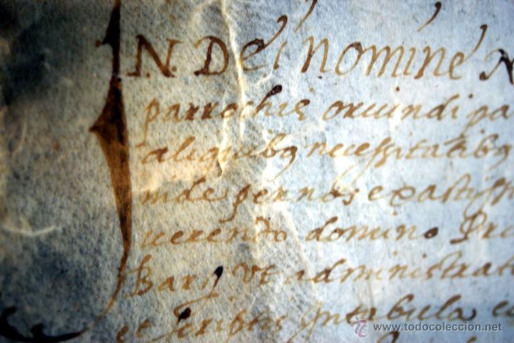Manuscritos antiguos: ENORME MANUSCRITO EN PERGAMINO - INUSUAL POR TAMAÑO - AÑO 1650 - S. XVII - RARO - Foto 17 - 53016993