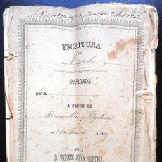 Manuscritos antiguos: BENIARRÉS (ALICANTE) - ESCRITURA CON UN SELLO FISCAL 4º DE 15 PESETAS Y ONCE DE 50 CENT. AÑO 1874. Lote 53052163