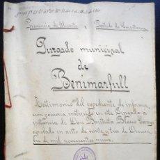 Manuscritos antiguos: BENIMARFULL (ALICANTE) ESCRITURA CON TRES SELLOS FISCALES 10º DE 1 PESETA (1904-1908) Y UNO 10ª 1909. Lote 53070915