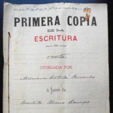 Manuscritos antiguos: PLANES (ALICANTE) ESCRITURA CON UN SELLO FISCAL DE UNA PESETA AÑO 1901. Lote 102665716
