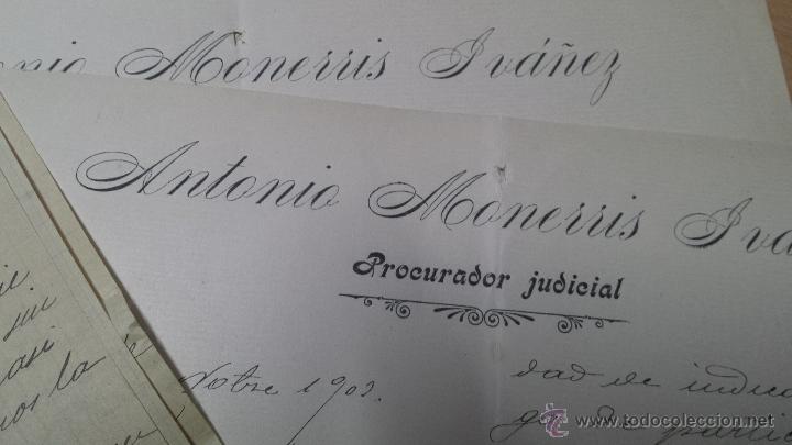 CARTAS MANUSCRITAS ANTONIO MONERRIS PRURADOR JIJONA ALICANTE (Coleccionismo - Documentos - Manuscritos)