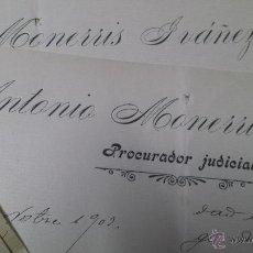 Manuscritos antiguos: CARTAS MANUSCRITAS ANTONIO MONERRIS PRURADOR JIJONA ALICANTE. Lote 53349647