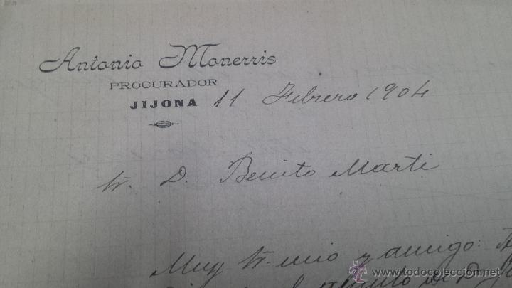 Manuscritos antiguos: CARTAS MANUSCRITAS ANTONIO MONERRIS PRURADOR JIJONA ALICANTE - Foto 2 - 53349647