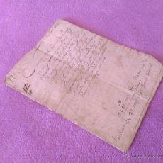Manuscritos antiguos: VENDA, PEÇA DE TERRA A CONSTANTINS, GIRONA, FAMILIA FABREGAS, MIQUEL METGE 1686. Lote 53711754