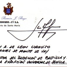 Manuscritos antiguos: SIGNED,AUTOGRAPH,FIRMA,FIRMA DE JUAN ANTONIO DE LEON URQUIJO ,MARQUES DE MONTE DE VAY.. Lote 61776566