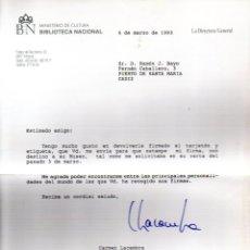 Manuscritos antiguos: SIGNED,AUTOGRAPH,FIRMA,CARTA FIRMADA POR CARMEN LACAMBRA ,DIRECTORA DE LA BIBLIOTECA NACIONAL.. Lote 53760483