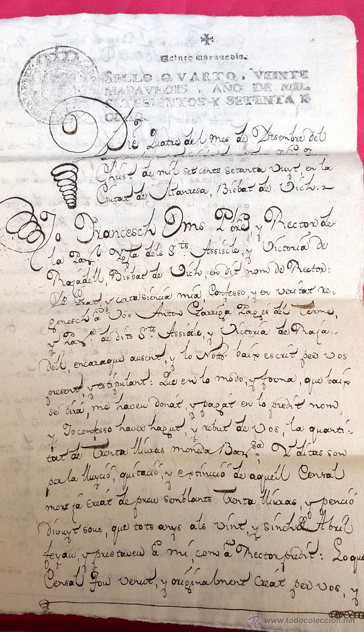 RAJADELL - 1778 - EXTINCIÓ D'UN CENS - 8 PÀGINES - SEGELL EN SEC (Coleccionismo - Documentos - Manuscritos)