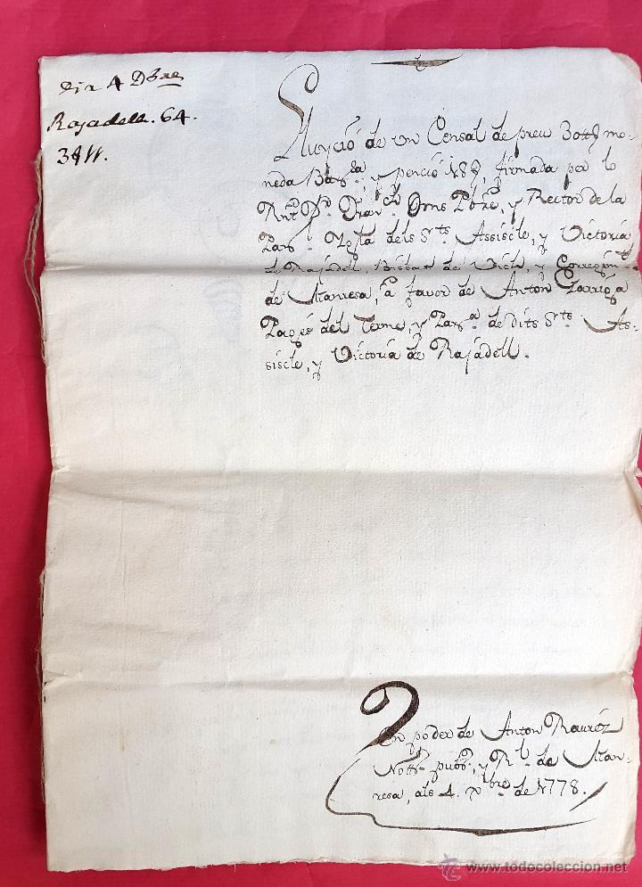 Manuscritos antiguos: RAJADELL - 1778 - EXTINCIÓ DUN CENS - 8 PÀGINES - SEGELL EN SEC - Foto 2 - 54047315