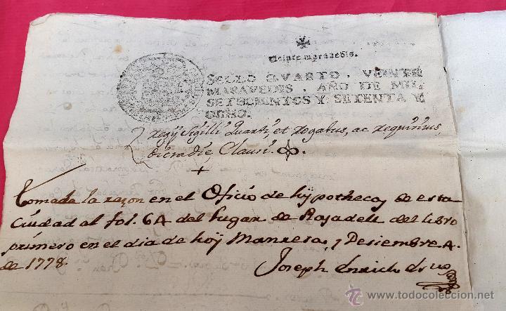 Manuscritos antiguos: RAJADELL - 1778 - EXTINCIÓ DUN CENS - 8 PÀGINES - SEGELL EN SEC - Foto 4 - 54047315