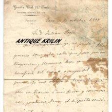 Manuscritos antiguos: GUARDIA CIVIL 22º TERCIO .- TENIENTE CORONEL 2.0 JEFE .- ASUNTO PARTICULAR 1898 .- JARO (CUBA). Lote 54397295