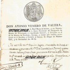 Manuscritos antiguos: RECIBO DE DON ANTONIO VENERO DE VALERA .- RECIBO DEL ARRENDADOR DEL DUCADO DE CARDONA 1793. Lote 54412819