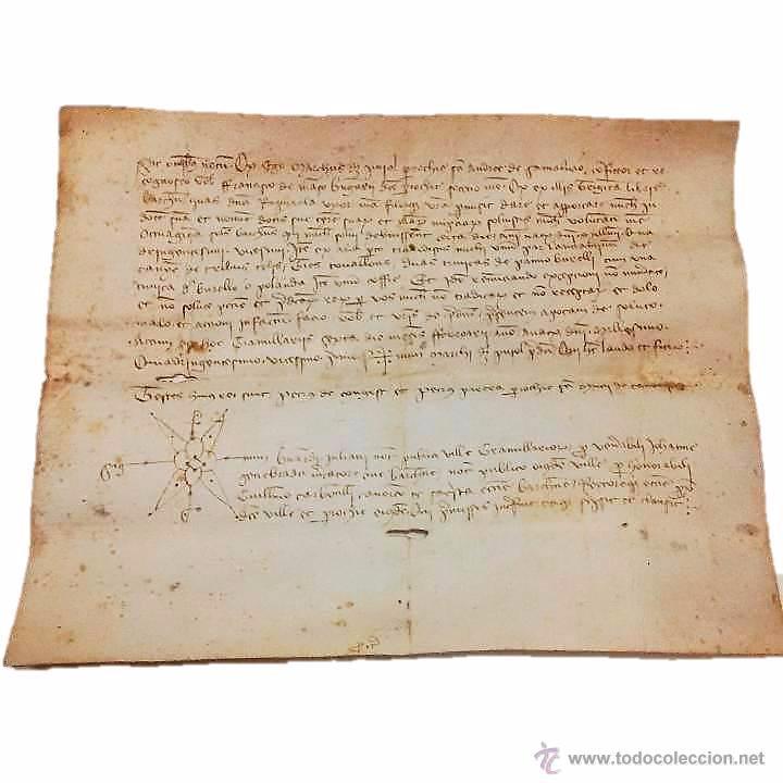 MANUSCRITO DE PERGAMINO AÑO 1.421 LETRAS GOTICAS -GRANOLLERS BARCELONA (Coleccionismo - Documentos - Manuscritos)