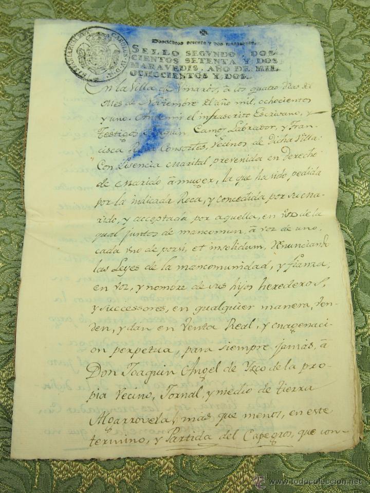 DO-059. DOCUMENTO DE COMPRA DE UN ALGARROBEDO.MANUSCRITO.CAPEGROS. VINARÓS. ESPAÑA.1802. (Coleccionismo - Documentos - Manuscritos)