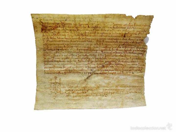 MANUSCRITO EN PERGAMINO LETRAS GOTICAS - AMPURIAS GIRONA AÑO 1.579 (Coleccionismo - Documentos - Manuscritos)