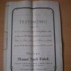 Manuscritos antiguos: ESCRITURA, DOCUMENTO MANUSCRITO, LLEVA SELLO, TIMBRE O FISCAL, MASALFASAR, VALENCIA, 1871. Lote 55443338