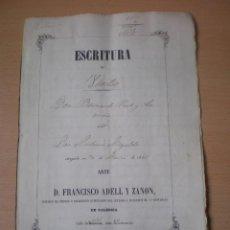 Manuscritos antiguos: ESCRITURA, DOCUMENTO MANUSCRITO, LLEVA SELLO, TIMBRE O FISCAL, MASALFASAR, VALENCIA, 1861. Lote 55444842