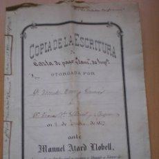 Manuscritos antiguos: ESCRITURA, DOCUMENTO MANUSCRITO, LLEVA SELLO TIMBRE O FISCAL, VALENCIA 1873. Lote 55574556