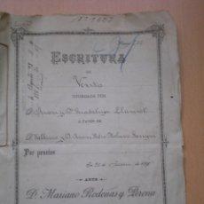 Manuscritos antiguos: ESCRITURA, DOCUMENTO MANUSCRITO, LLEVA SELLO, TIMBRE O FISCAL, VALENCIA, 1898. Lote 55588697