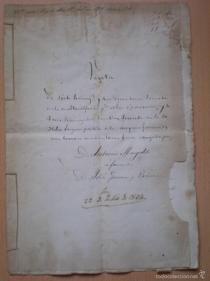 ESCRITURA, DOCUMENTO MANUSCRITO, LLEVA SELLO, TIMBRE O FISCAL, MASALFASAR, VALENCIA, 1864 (Coleccionismo - Documentos - Manuscritos)