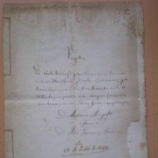 Manuscritos antiguos: ESCRITURA, DOCUMENTO MANUSCRITO, LLEVA SELLO, TIMBRE O FISCAL, MASALFASAR, VALENCIA, 1864. Lote 55588709