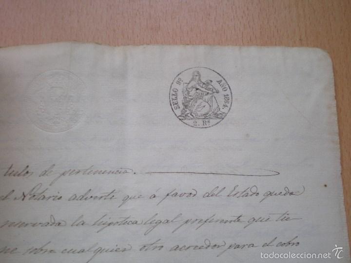 Manuscritos antiguos: ESCRITURA, DOCUMENTO MANUSCRITO, LLEVA SELLO, TIMBRE O FISCAL, MASALFASAR, VALENCIA, 1864 - Foto 2 - 55588709