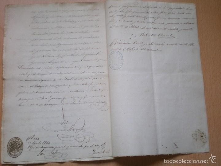 Manuscritos antiguos: ESCRITURA, DOCUMENTO MANUSCRITO, LLEVA SELLO, TIMBRE O FISCAL, MASALFASAR, VALENCIA, 1864 - Foto 3 - 55588709
