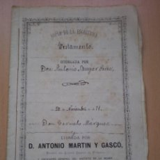 Manuscritos antiguos: ESCRITURA, DOCUMENTO MANUSCRITO, LLEVA SELLO, TIMBRE O FISCAL, BUÑOL, VALENCIA, 1885. Lote 55588743