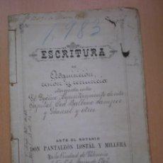 Manuscritos antiguos: ESCRITURA, DOCUMENTO MANUSCRITO, LLEVA SELLO, TIMBRE O FISCAL, VALENCIA, 1902. Lote 55588753
