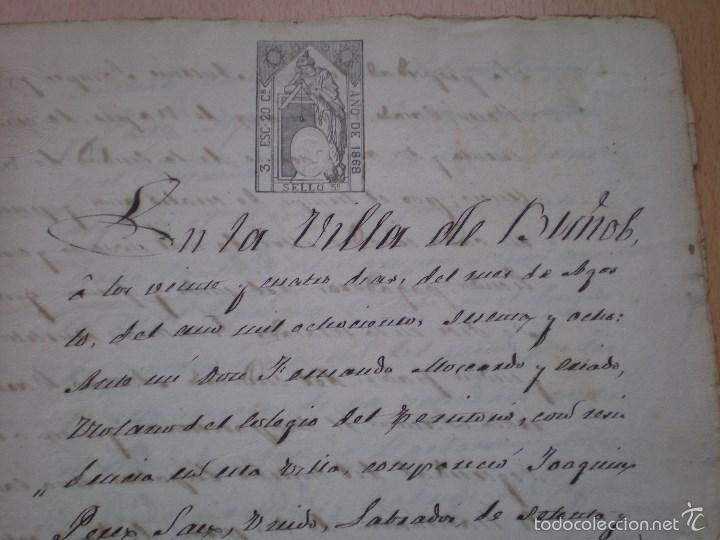 Manuscritos antiguos: ESCRITURA, DOCUMENTO MANUSCRITO, LLEVA SELLO, TIMBRE O FISCAL, BUÑOL, VALENCIA, 1868 - Foto 2 - 55588765