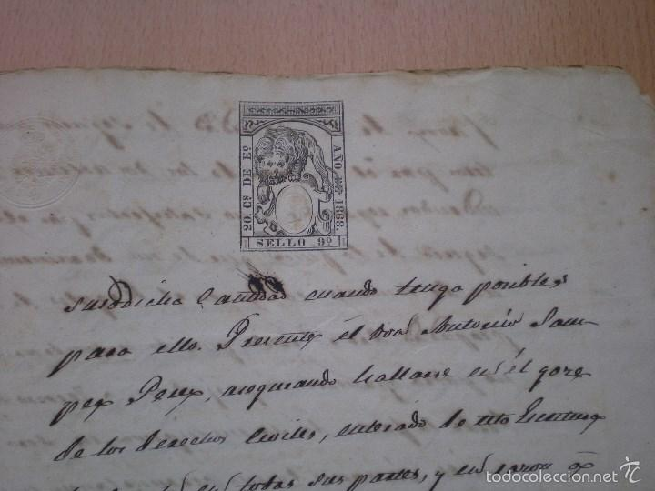 Manuscritos antiguos: ESCRITURA, DOCUMENTO MANUSCRITO, LLEVA SELLO, TIMBRE O FISCAL, BUÑOL, VALENCIA, 1868 - Foto 3 - 55588765