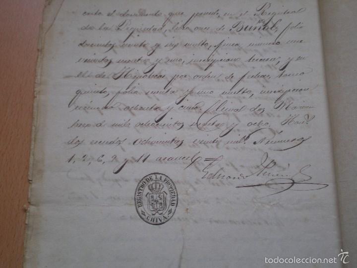 Manuscritos antiguos: ESCRITURA, DOCUMENTO MANUSCRITO, LLEVA SELLO, TIMBRE O FISCAL, BUÑOL, VALENCIA, 1868 - Foto 4 - 55588765