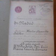 Manuscritos antiguos: MADRID, CASA HOTEL CALLE GOYA 34, JARDÍN DE LA ROSA, 1916 HIPOTECA, SELLO 1ª CLASE. Lote 55380884