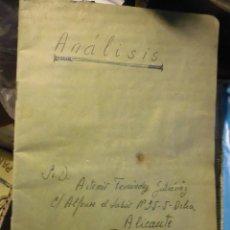 Manuscritos antiguos: LIBRETA MANUSCRITA DE ARTEMIO FERNANDEZ GUTIERREZ ALICANTE. Lote 26311524